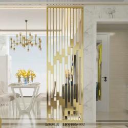 新中式轻奢不锈钢隔断屏风定制客厅玄关金属