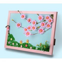 画盏创意手工相框粘贴画春夏秋冬景观diy制作纽扣画玩具