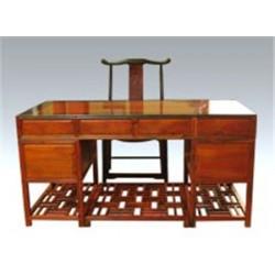 中式缅梨花办公桌王义红木古典文化家具老挝酸枝罗汉床