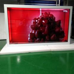 东莞惠华厂家直销65寸红外触摸液晶透明展示柜